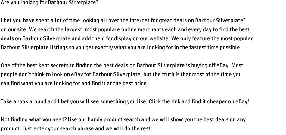 Barbour Silverplate For Sale Vintage Antiques For Sale